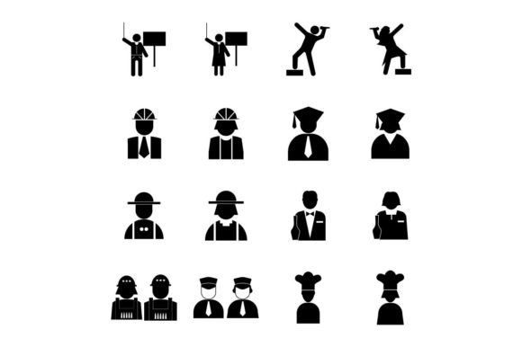 Download Free Career Job Icon Set Vector Graphic By Hoeda80 Creative Fabrica for Cricut Explore, Silhouette and other cutting machines.