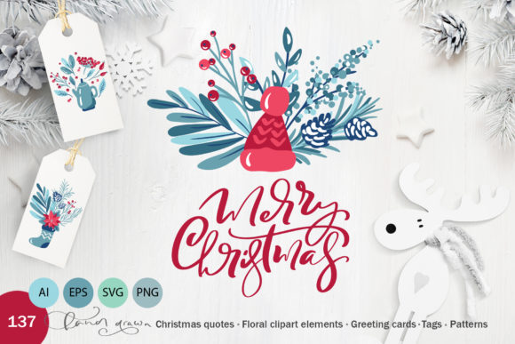 Floral Christmas Holiday Elements Graphic Objects By Happy Letters
