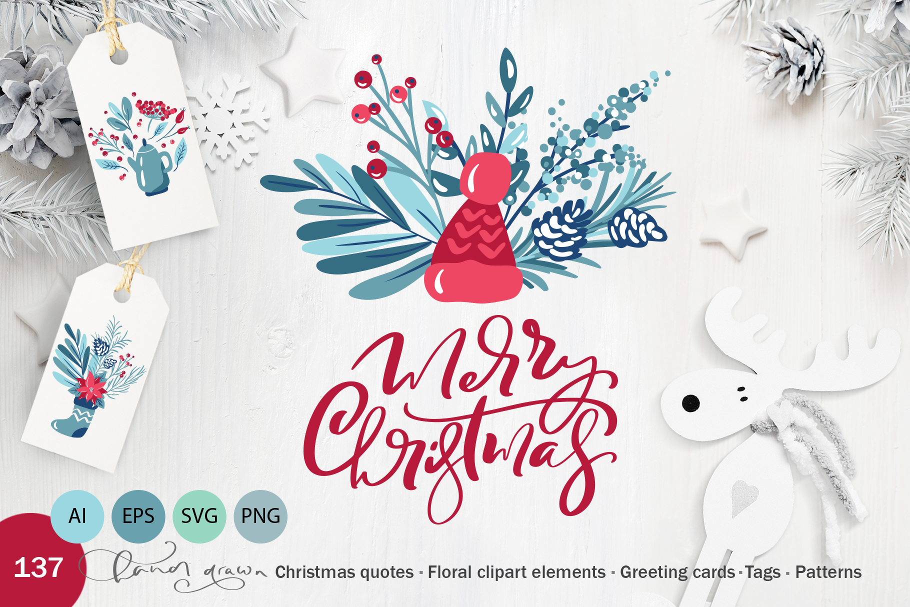 Download Free Floral Christmas Holiday Elements Graphic By Happy Letters for Cricut Explore, Silhouette and other cutting machines.