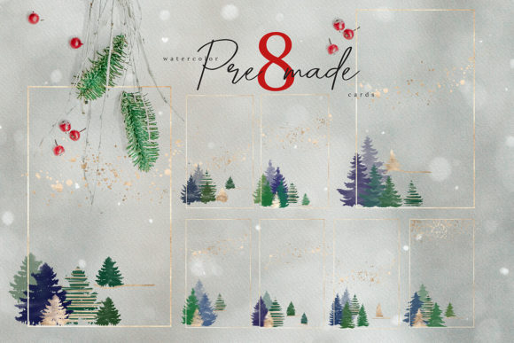 Christmas Watercolor Tree Cards Graphic By 3Motional Image 2