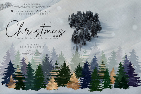 Print on Demand: Christmas Watercolor Tree Cards Graphic Illustrations By 3Motional