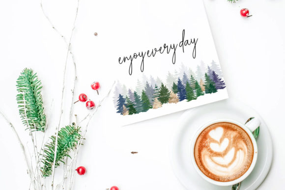 Print on Demand: Christmas Watercolor Tree Cards Graphic Illustrations By 3Motional - Image 8