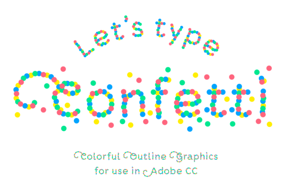 Confetti Font Outline Illustrations Graphic Illustrations By Studio Dot by dot