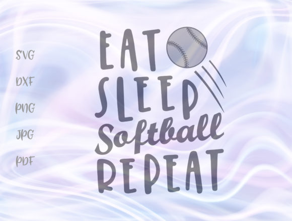 Download Free Eat Sleep Softball Repeat Graphic By Digitals By Hanna for Cricut Explore, Silhouette and other cutting machines.
