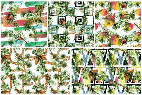Print on Demand: Evergreen with Buds Watercolor Graphic Illustrations By MyStocks - Image 5