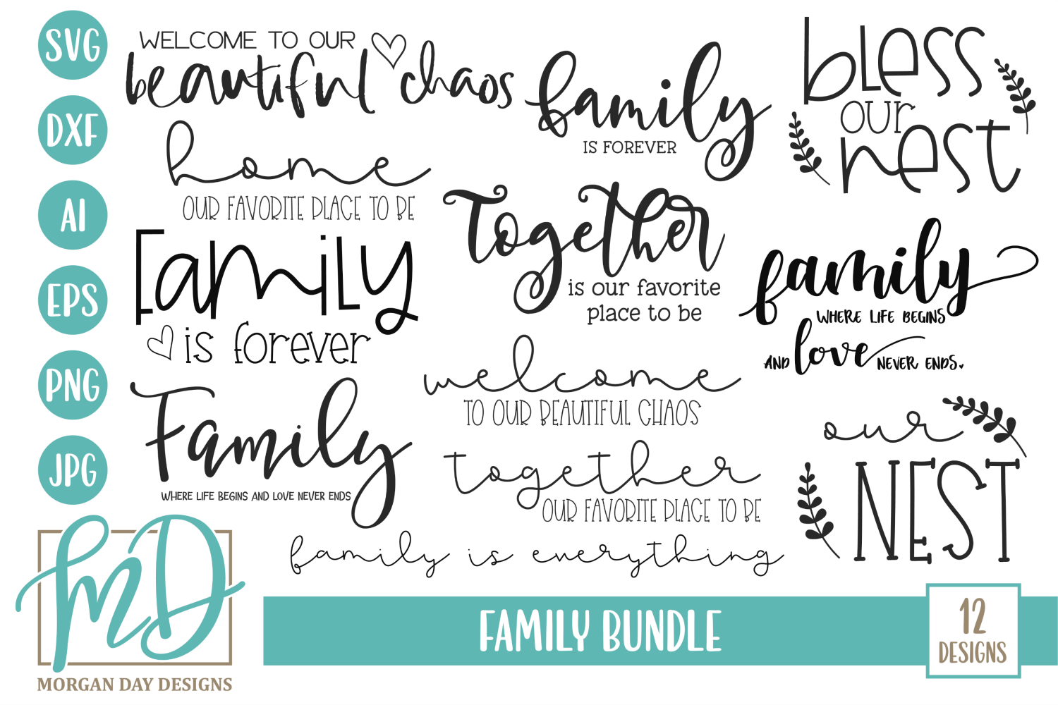 Download Free Family Bundle Graphic By Morgan Day Designs Creative Fabrica for Cricut Explore, Silhouette and other cutting machines.