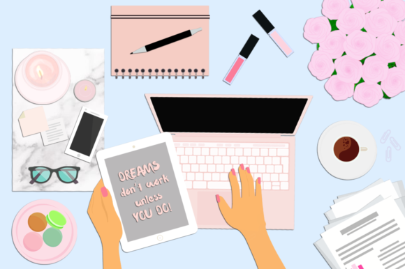 Download Free Feminine Desktop Scene Creator Graphic By Amanda Lee Graphics for Cricut Explore, Silhouette and other cutting machines.