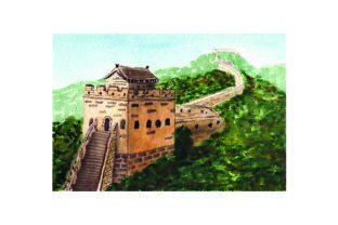 Great Wall of China - Watercolor Style Craft Design By Creative Fabrica Crafts