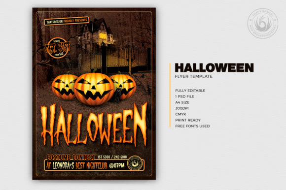 Download Free Halloween Flyer Template V1 Graphic By Thatsdesignstore SVG Cut Files