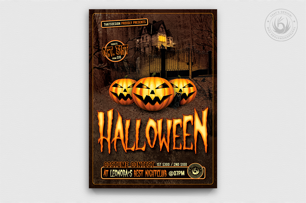 Download Free Halloween Flyer Template V1 Graphic By Thatsdesignstore for Cricut Explore, Silhouette and other cutting machines.