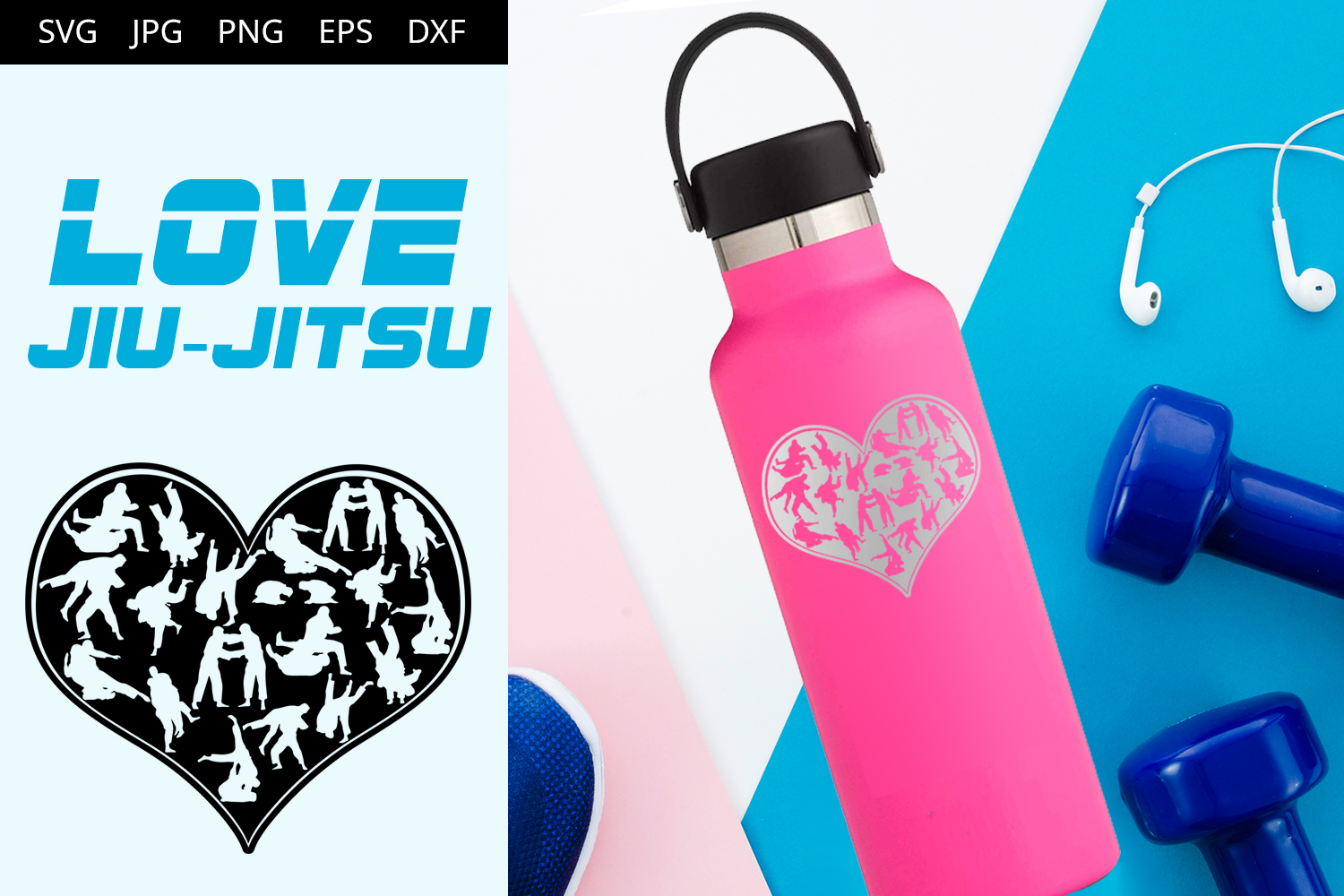 Download Free Love Brazilian Jiu Jitsu Graphic By Thesilhouettequeenshop for Cricut Explore, Silhouette and other cutting machines.