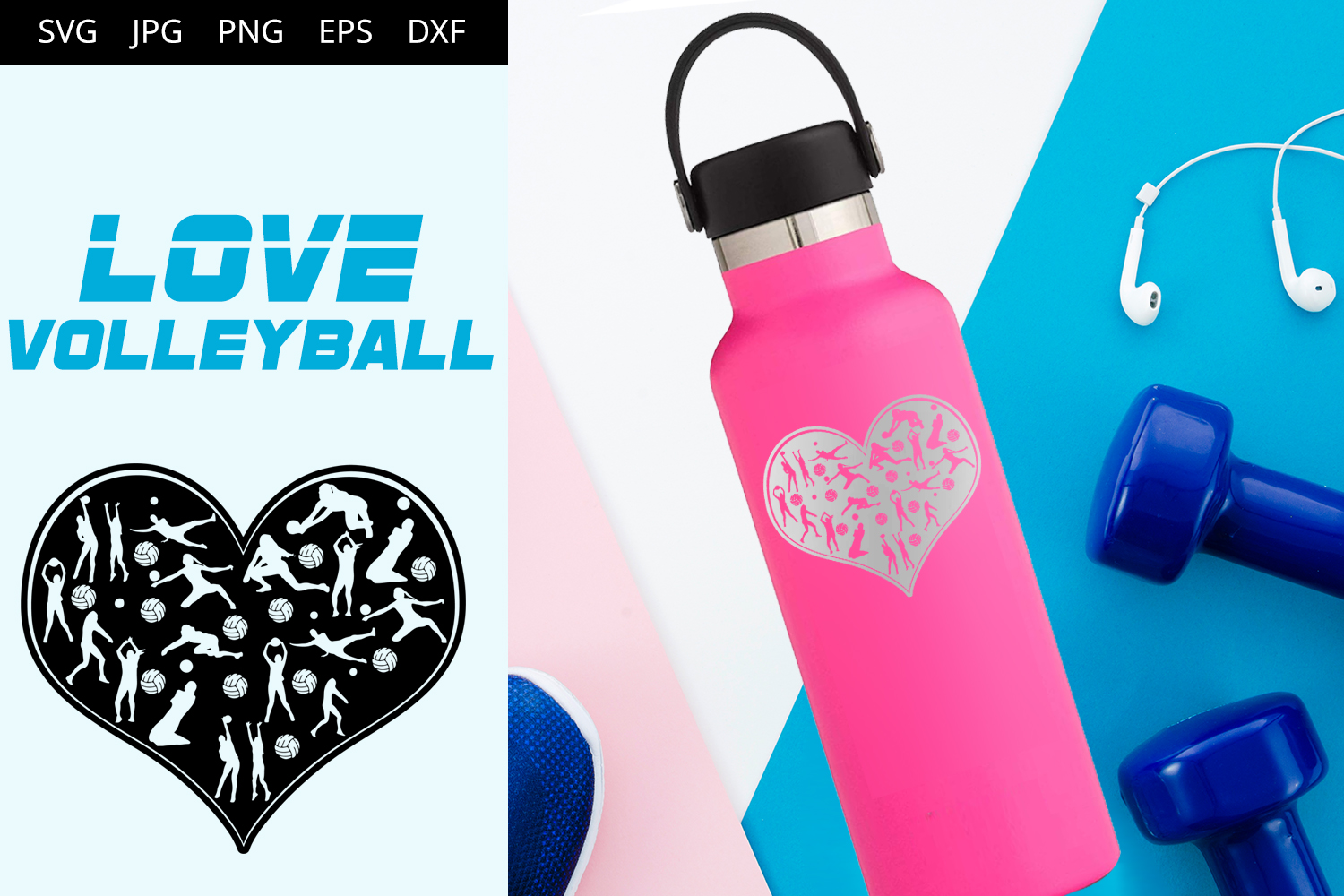 Download Free Love Volleyball Graphic By Thesilhouettequeenshop Creative Fabrica for Cricut Explore, Silhouette and other cutting machines.