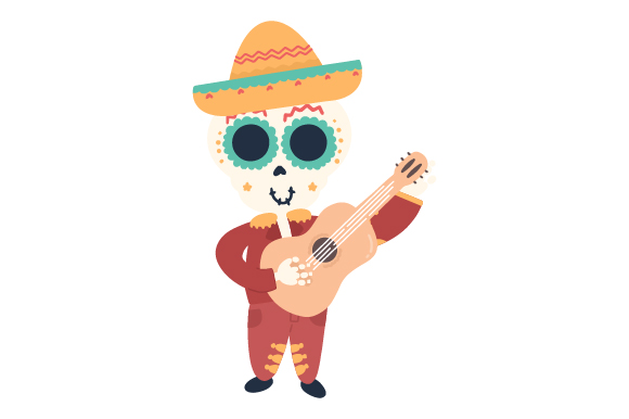 Download Free Mariachi Skull With Guitar Creative Fabrica for Cricut Explore, Silhouette and other cutting machines.