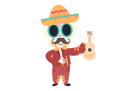 Download Free Mariachi Skull With Guitar Svg Cut File By Creative Fabrica for Cricut Explore, Silhouette and other cutting machines.