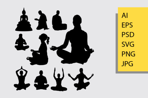 Meditation Silhouette Graphic Illustrations By Cove703