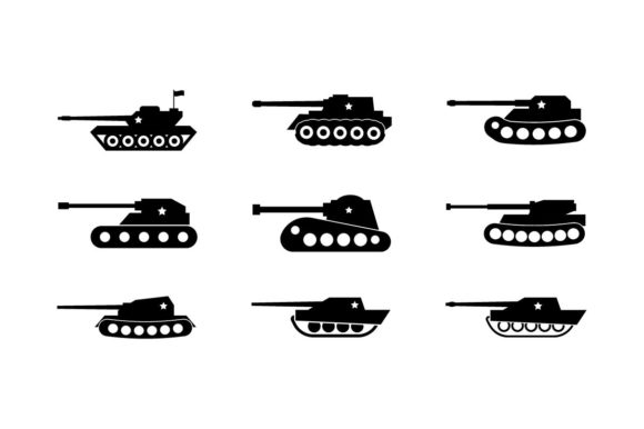 Download Free Military Army Tank Black Icon Set Graphic By Hoeda80 Creative for Cricut Explore, Silhouette and other cutting machines.