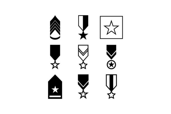 Download Free Military Rank Army Insignia Icon Set Graphic By Hoeda80 for Cricut Explore, Silhouette and other cutting machines.