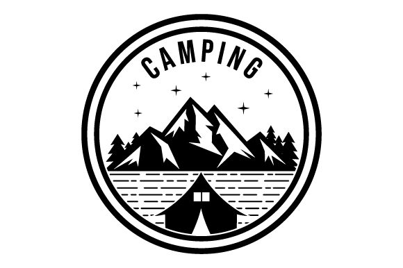 Download Free Mountain Camping Glyphicon Logo Design Graphic By Graphicrun123 for Cricut Explore, Silhouette and other cutting machines.