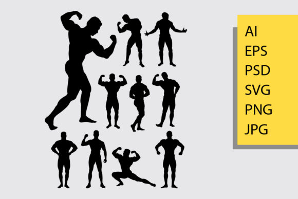 Muscular Man Silhouette Graphic Illustrations By Cove703