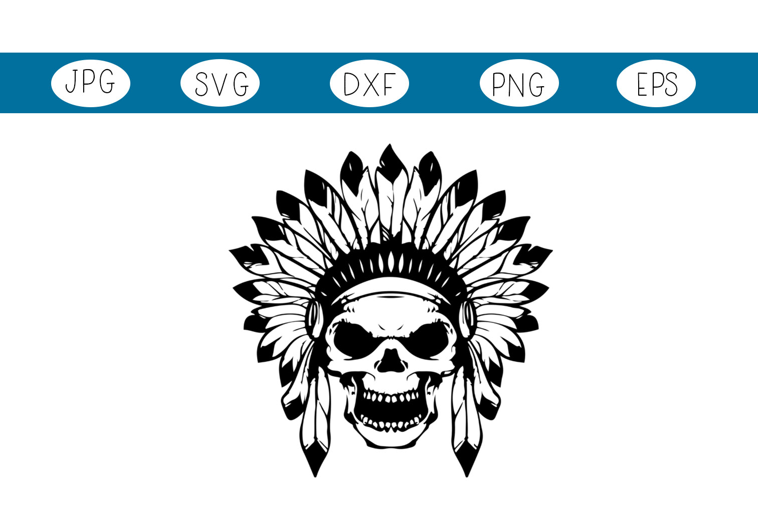 Download Free Native American Skull Feathers Graphic By Capeairforce for Cricut Explore, Silhouette and other cutting machines.
