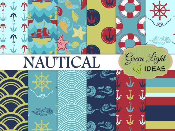 Nautical Sea Backgrounds Beach Papers Graphic Backgrounds By GreenLightIdeas