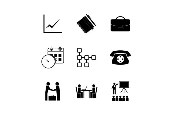 Office Work Icon Set Vector Graphic By Hoeda80 Creative Fabrica