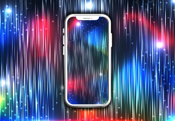 Download Free Phone With Colorfull Background Graphic By Ojosujono96 for Cricut Explore, Silhouette and other cutting machines.