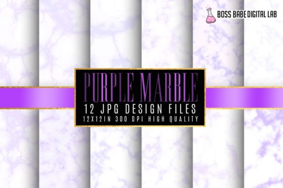 Print on Demand: Purple Marble Digital Papers Graphic Textures By bossbabedigitallab