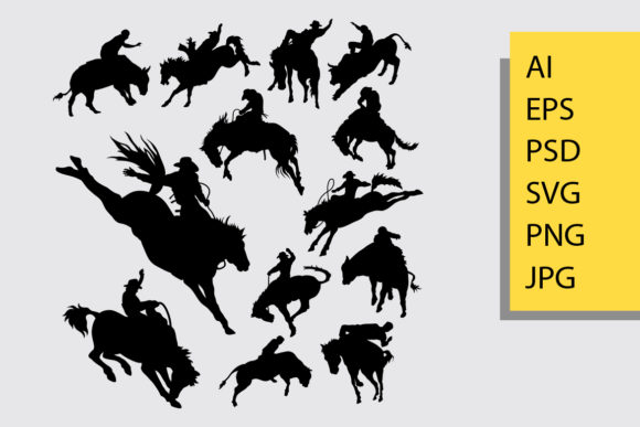 Rodeo Sport Silhouette Graphic Illustrations By Cove703 - Image 1