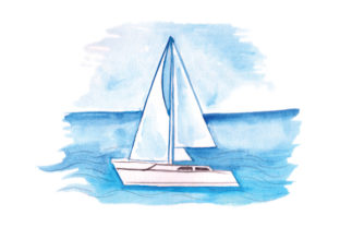 Sailboat in Sea in Watercolor Craft Design By Creative Fabrica Crafts