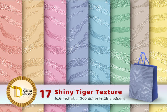 Print on Demand: Shiny Tiger Texture Printable Papers Graphic Textures By dina.store4art