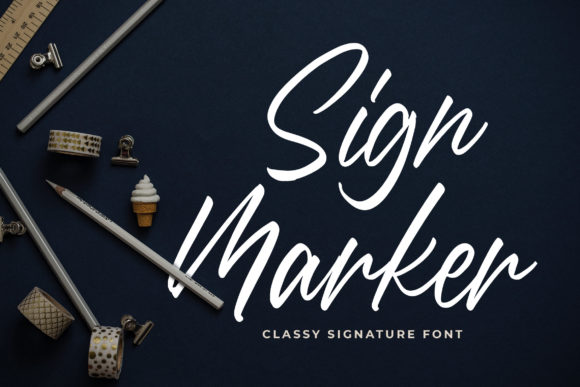 Print on Demand: Sign Marker Script & Handwritten Font By Bangkit Setiadi
