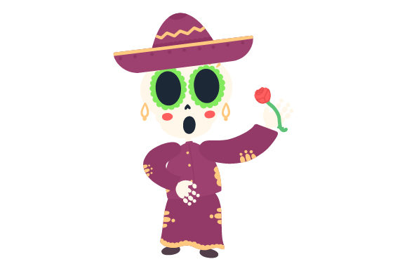 Download Free Skeleton Mariachi With Rose Svg Cut File By Creative Fabrica for Cricut Explore, Silhouette and other cutting machines.