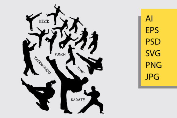 Taekwondo Silhouette Graphic Illustrations By Cove703