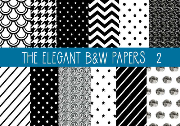 Print on Demand: The Elegant Black & White Papers 2 Gráfico Moldes Por CapeAirForce