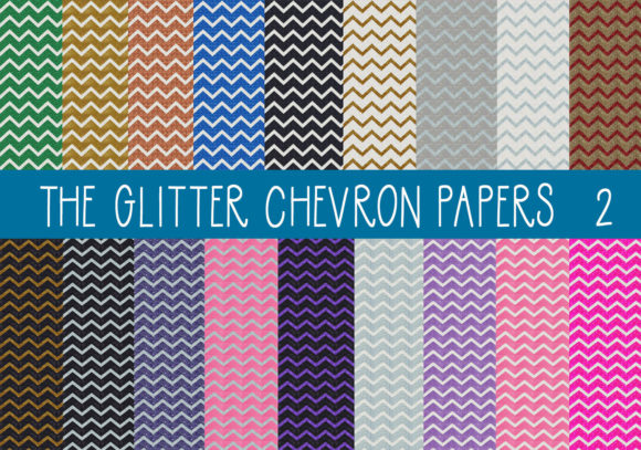 Print on Demand: The Glitter Chevron Papers Set 1 Gráfico Texturas Por CapeAirForce