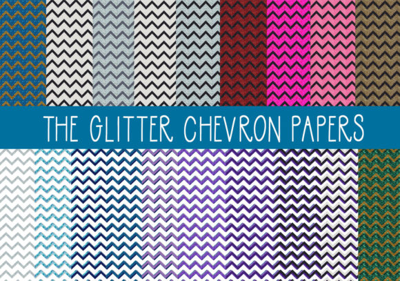 Print on Demand: The Glitter Chevron Papers Set 2 Graphic Textures By capeairforce