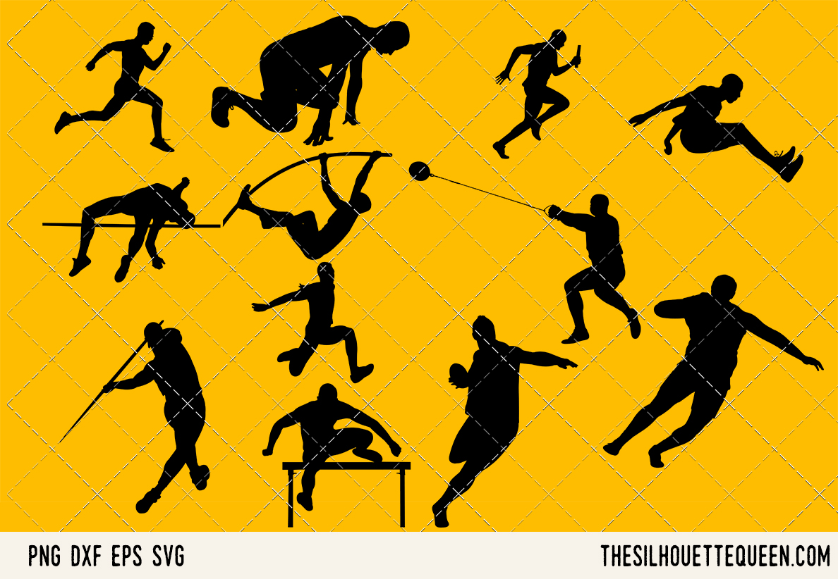 Download Free Track And Field Men Graphic By Thesilhouettequeenshop Creative for Cricut Explore, Silhouette and other cutting machines.