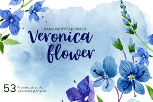 Veronica Flower Blue Watercolor Graphic By MyStocks