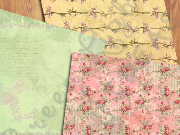Vintage Spring Floral Digital Papers Graphic Backgrounds By GreenLightIdeas - Image 2
