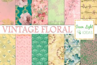 Vintage Spring Floral Digital Papers Graphic By GreenLightIdeas