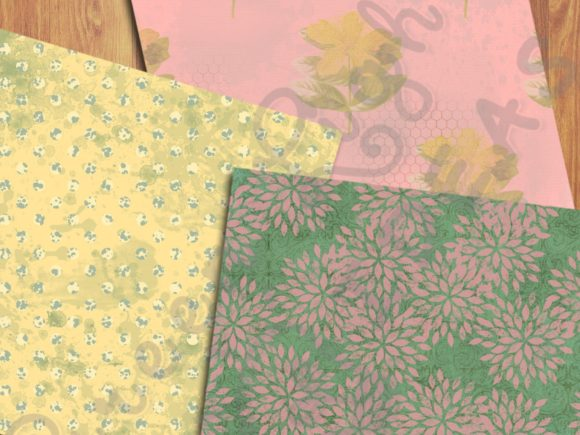 Vintage Spring Floral Digital Papers Graphic Backgrounds By GreenLightIdeas - Image 5