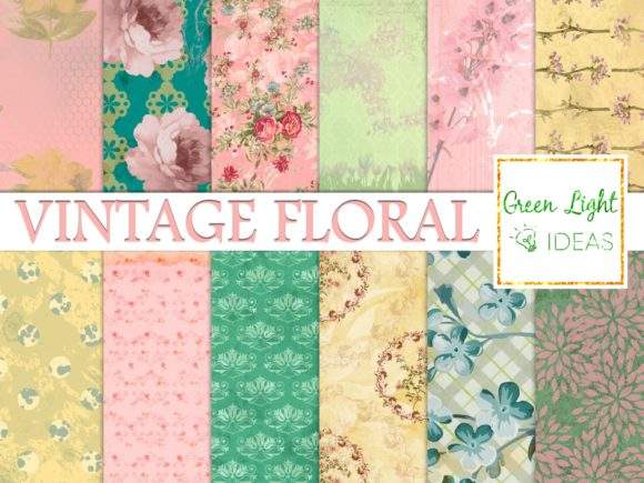 Vintage Spring Floral Digital Papers Graphic Backgrounds By GreenLightIdeas
