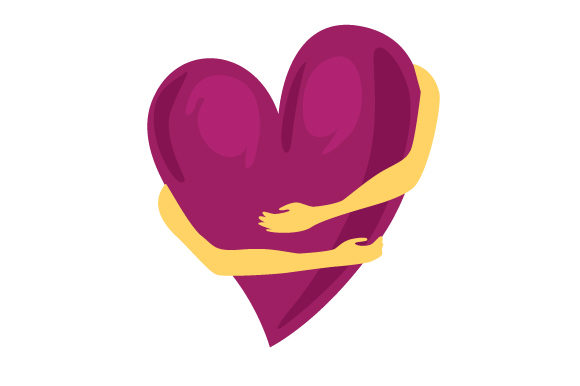 Arms Hugging A Heart In Mauve Svg Cut File By Creative Fabrica