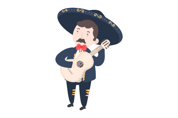 Mariachi with Guitar Mexico Craft Cut File By Creative Fabrica Crafts