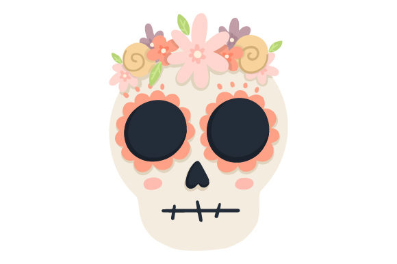 Skull with Flowers Mexico Craft Cut File By Creative Fabrica Crafts - Image 1