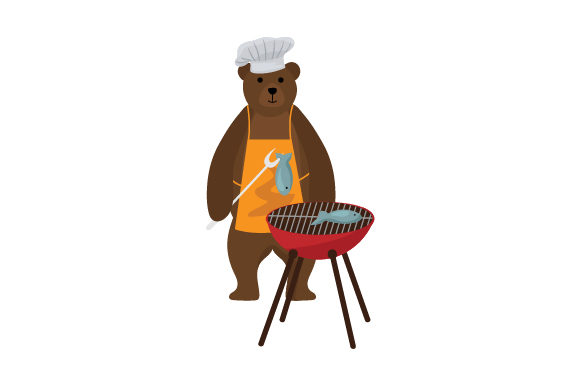 Download Free Bear B Q Bear Wearing A Chef Hat Using A Grill Svg Cut File By for Cricut Explore, Silhouette and other cutting machines.