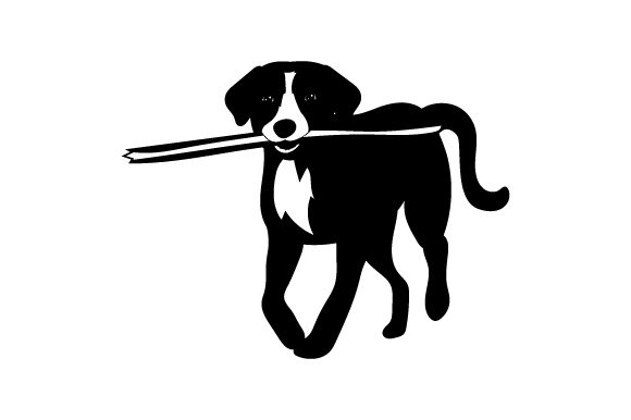 Download Free Dog With Branch In Mouth Svg Cut File By Creative Fabrica Crafts for Cricut Explore, Silhouette and other cutting machines.