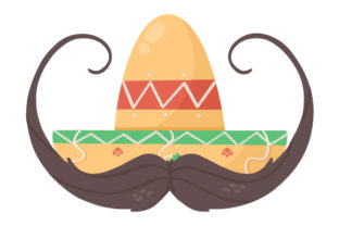 Mexican Hat with Moustache Mexico Craft Cut File By Creative Fabrica Crafts