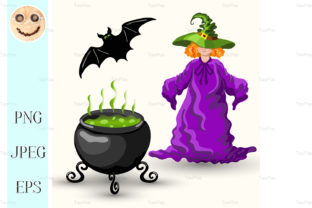 Young Witch and Cauldron Graphic By TasiPas